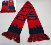 Knitted Scarf with Fringe [CLEVELAND Skyline] Navy/Red
